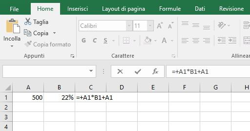 Aggiungere IVA su un importo con Excel