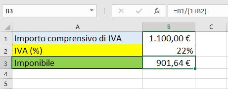 Scorporo IVA. Un esempio su un foglio Excel
