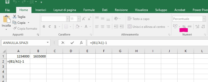 Differenza percentuale due numeri con Excel