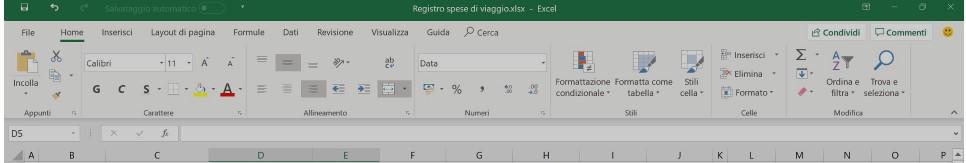 La barra di Excel