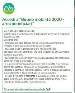 """Accedi a """"Buono mobilità 2020 - area beneficiari"""""""
