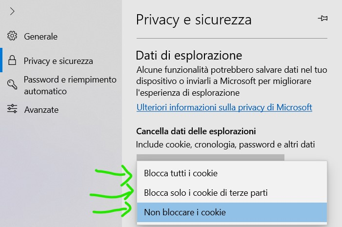 Per bloccare o consentire i cookie in Microsoft EDGE
